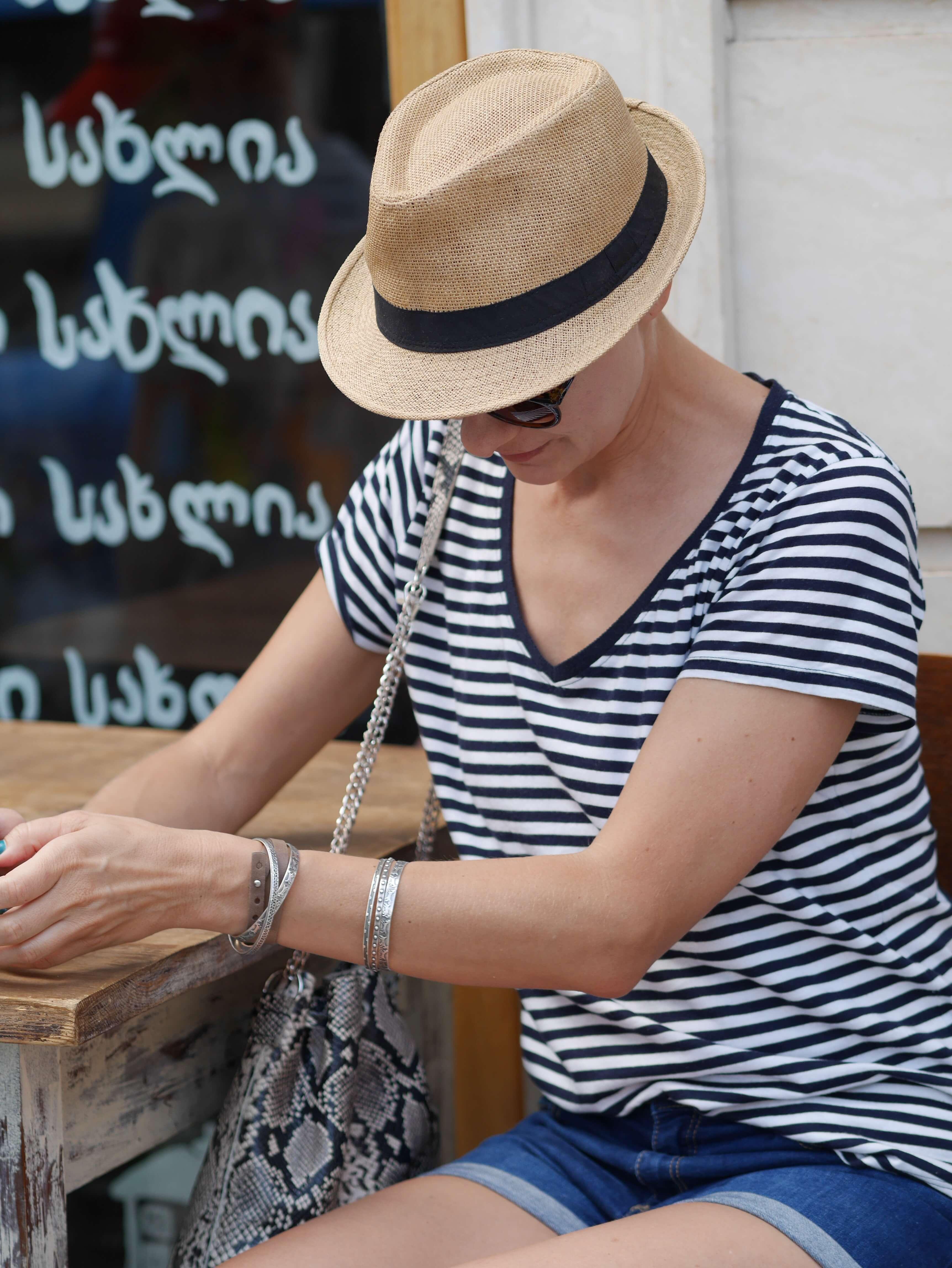 kobieta T-shirt w paski